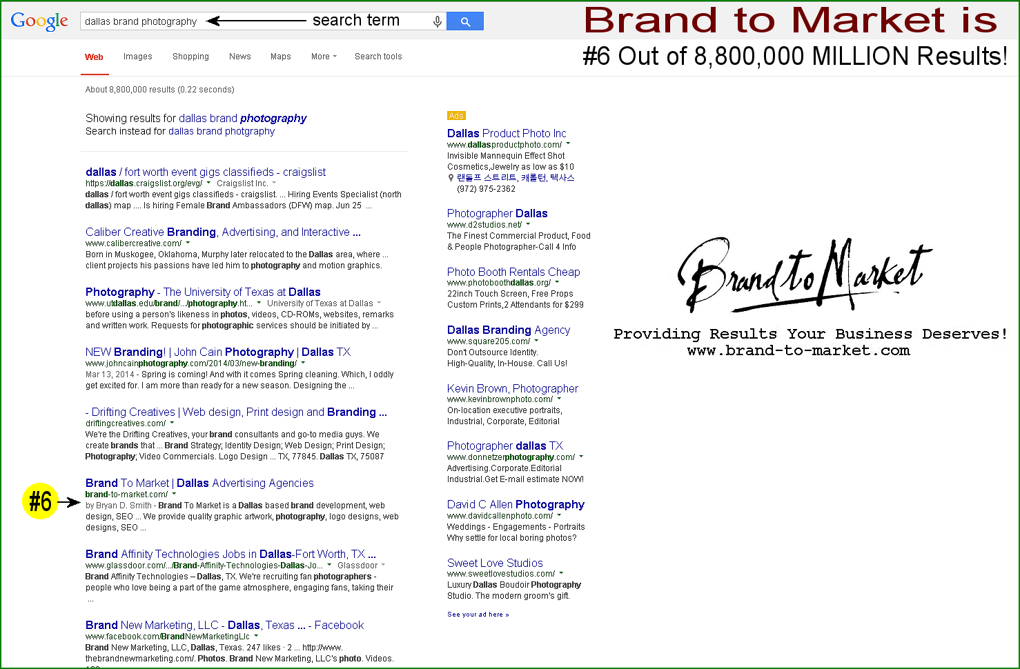 Google Results - Dallas Brand Photography